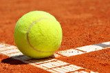 Tennis ball on a tennis clay court  Sport Fototapeta