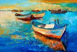 Boats on sunset  Olejne Obraz