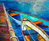 Boats and pier  Olejne Obraz
