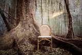 the tree, the old chair and the ruined wall - Grunge textured  Olejne Obraz