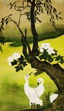 Two white birds and tree  Olejne Obraz