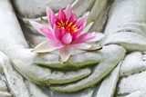 Buddha hands holding flower, close up  Orientalne Fototapeta