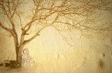 Buddha meditating under a tree  Orientalne Fototapeta