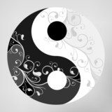 Yin yang pattern symbol on grey background, vector illustration  Orientalne Fototapeta