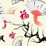 Seamless background with fan and sakura  Orientalne Fototapeta