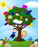 Cartoon children playing Illustration in an apple tree  Pokój dziecka Plakat