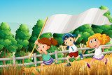 Kids at the woods with an empty banner  Pokój dziecka Plakat
