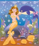 Beautiful golden mermaid girl and dolphin, vector  Plakaty do Pokoju dziecka Plakat