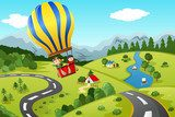 Kids riding hot air balloon  Plakaty do Pokoju dziecka Plakat