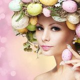 Easter Woman. Spring Girl with Fashion Hairstyle  Ludzie Plakat