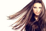 Fashion Model Girl Portrait with Long Blowing Hair  Ludzie Plakat