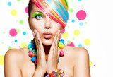 Beauty Girl Portrait with Colorful Makeup, Hair and Accessories  Ludzie Plakat