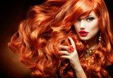 Long Curly Red Hair. Fashion Woman Portrait  Ludzie Plakat