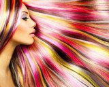 Beauty Fashion Model Girl with Colorful Dyed Hair  Ludzie Plakat