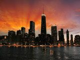 Wonderful Chicago Skyscrapers Silhouette at sunset  Architektura Obraz