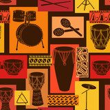 Musical seamless pattern of drum set  Fototapety do Pokoju Nastolatka Fototapeta
