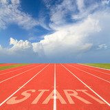 Start on running track  Stadion Fototapeta