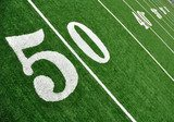 View From Above of Fifty Yard Line on American Football Field  Stadion Fototapeta