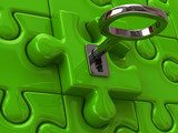 Silver key and green puzzle  3D Fototapeta