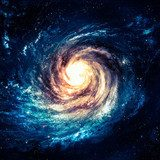Incredibly beautiful spiral galaxy somewhere in deep space  Fototapety Kosmos Fototapeta