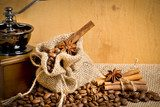 Coffee grains with bag and coffee mill  Fototapety do Kawiarni Fototapeta