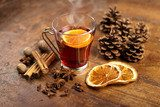mulled wine with orange and spices  Fototapety do Kawiarni Fototapeta