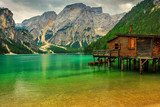 Boathouse at the Braies Lake on a cloudy day,Dolomites,Italy  Krajobraz Fototapeta
