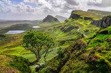 Scenic view of Quiraing mountains in Isle of Skye, Scottish high  Krajobraz Fototapeta