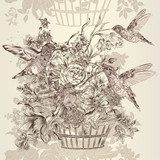 Vector seamless wallpaper pattern with flowers and birds  Drawn Sketch Fototapeta
