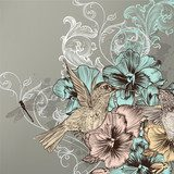 Elegant floral background with flowers and humming birds  Na drzwi Naklejka