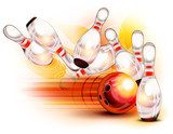 Bowling ball crashing into the pins  Sport Fototapeta