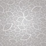 Seamless silver lace leaves wallpaper pattern  Na lodówkę Naklejka