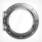 Boat round porthole seascape isolated on white, vector  Na sufit Naklejka