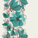 Flower seamless pattern vector  Draw Flower Fototapeta