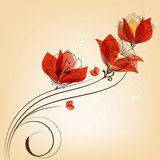 Romantic red flowers decoration in retro style  Draw Flower Fototapeta