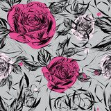 Seamless pattern with pink roses / Japanese floral  Draw Flower Fototapeta