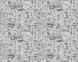 seamless doodle coffee pattern background  Drawn Sketch Fototapeta