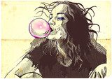young woman blowing bubble from chewing gum  Drawn Sketch Fototapeta