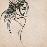 Beautiful modern woman drawing  Drawn Sketch Fototapeta