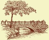Vector landscape. Maple near ancient bridge over a small river  Drawn Sketch Fototapeta
