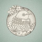 hand drawn retro style cute bird  Drawn Sketch Fototapeta