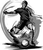 Soccer Player Kicking Ball Vector Illustration...  Drawn Sketch Fototapeta