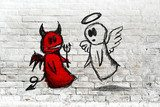 Angel and devil fighting; doodle drawing on white brick wall  Mur Fototapeta