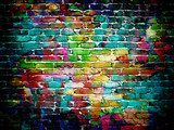 graffiti brick wall  Mur Fototapeta