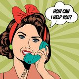 woman chatting on the phone, pop art illustration  Pin-up Obraz