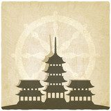 Buddhist temple old background  Orientalne Fototapeta