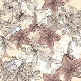Seamless vector wallpaper pattern in vintage floral style  Drawn Sketch Fototapeta