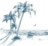 Summer beach with palm trees, seagulls and boat on shore  Drawn Sketch Fototapeta
