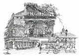 New Orleans architectural illustration drawing  Drawn Sketch Fototapeta