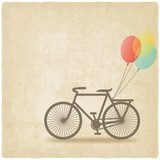bike with balloons old background  Plakaty do Salonu Plakat